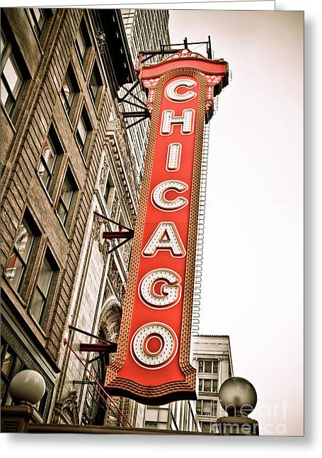 Theatre Photographs Greeting Cards - Chicago Theater Sign Marquee Greeting Card by Paul Velgos
