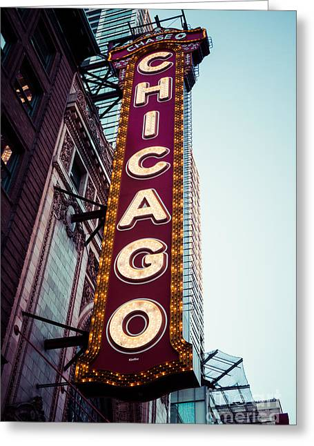 Theatre Photographs Greeting Cards - Chicago Theatre Marquee Sign Vintage Greeting Card by Paul Velgos