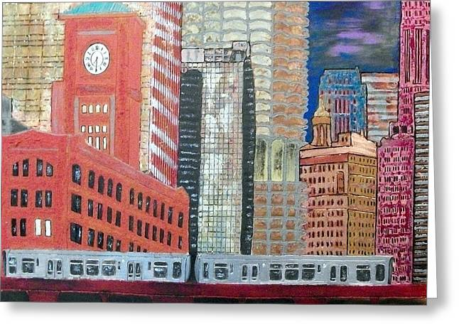 Magnificent Mile Mixed Media Greeting Cards - Chicago Train Cityscape Greeting Card by Char Swift