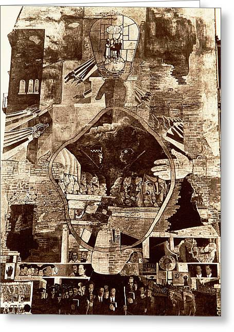 City Murals Greeting Cards - Chicago Wall Mural 1974 Greeting Card by Thomas Firak