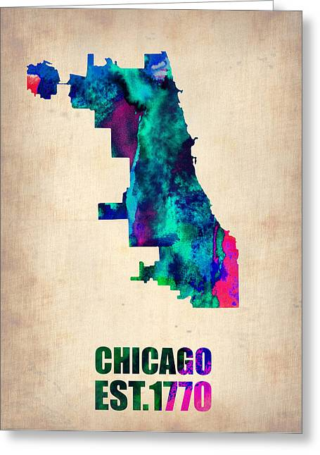 Chicago Digital Greeting Cards - Chicago Watercolor Map Greeting Card by Naxart Studio