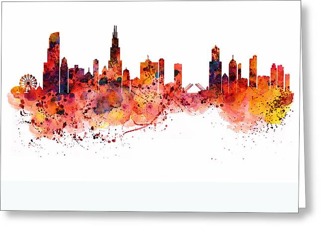 Chicago Skyline Art Greeting Cards - Chicago watercolor skyline Greeting Card by Marian Voicu