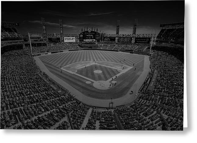 The Bean Greeting Cards - Chicago White Sox US Cellular Field Creative 3 Black and White Greeting Card by David Haskett