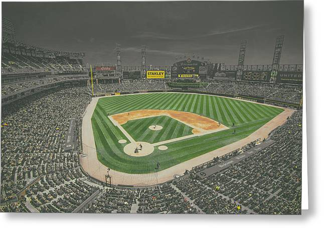Chicago White Sox Us Cellular Field Creative 4 Black And White Greeting Card by David Haskett