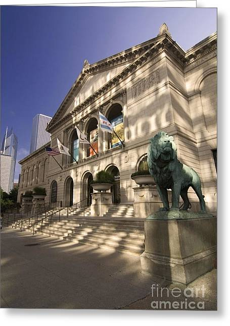 Chicago's Art Institute In Reflected Light. Greeting Card by Sven Brogren