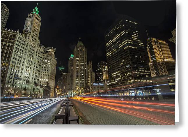 Chicago's Mag Mile Night Streaks Greeting Card by Sven Brogren
