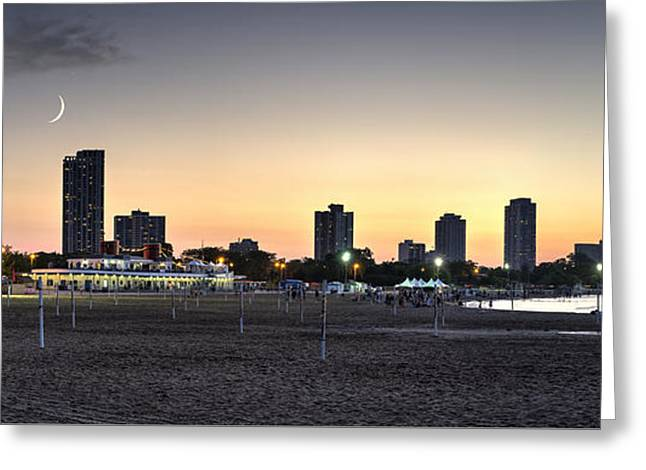 Moonrise Greeting Cards - Chicagos North Avenue Beach Greeting Card by Matt Hammerstein