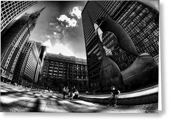 Daley Plaza Greeting Cards - Chicagos Picasso with a fisheye view Greeting Card by Sven Brogren