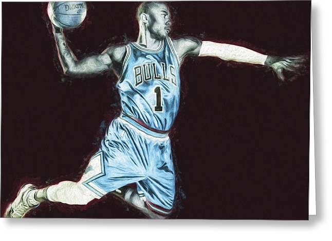 Nba Champs Greeting Cards - Chicao Bulls Derrick Rose Painted Digitally Blue Greeting Card by David Haskett