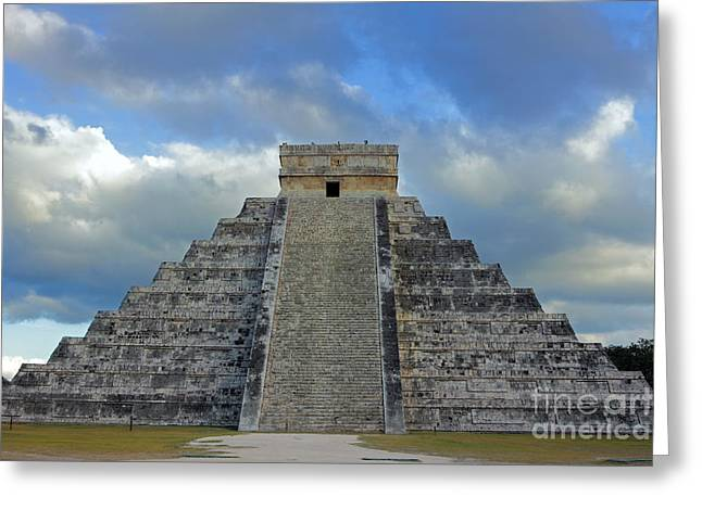 Chichen Itza Greeting Cards - Chichen Itza and Dramatic Sky Greeting Card by Charline Xia