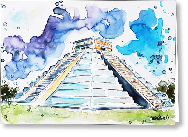 Yupo Paper Greeting Cards - Chichen Itza Greeting Card by Shaina Stinard
