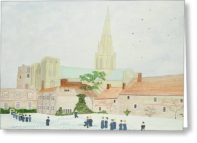 Christmas Art Greeting Cards - Chichester Cathedral and Visiting Choir Greeting Card by Judy Joel