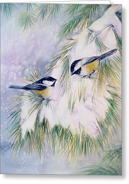 Snowy Day Greeting Cards - Chickadee Chat Greeting Card by Patricia Pushaw