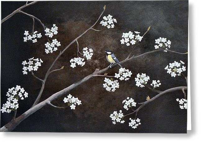 Pear Tree Paintings Greeting Cards - Chickadee in a Bradford Pear Greeting Card by Amanda Hooser