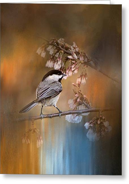 White Photographs Greeting Cards - Chickadee In The Garden Greeting Card by Jai Johnson