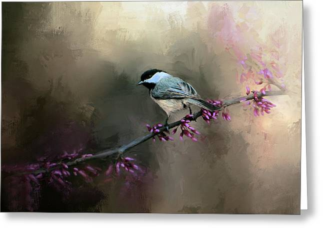 Chickadee In The Light Greeting Card by Jai Johnson