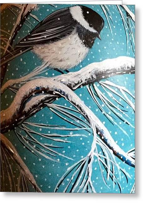 Home Ceramics Greeting Cards - Chickadee Vase View 2 Greeting Card by Jennifer Lake