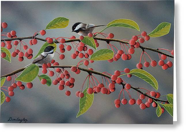 Don Cherry Greeting Cards - Chickadees Greeting Card by Don Engler