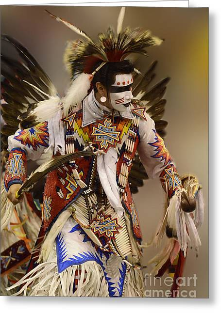 Pow Wow Greeting Cards - Pow Wow Chicken Dancer 12 Greeting Card by Bob Christopher