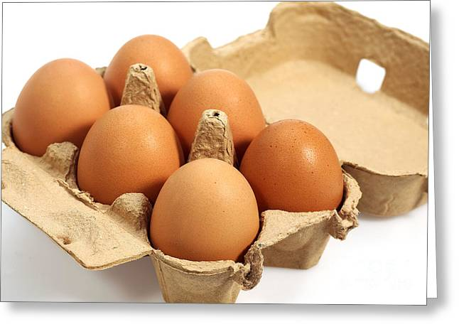 Indoor Still Life Photographs Greeting Cards - Chicken Eggs In Eggbox Greeting Card by Gerard Lacz