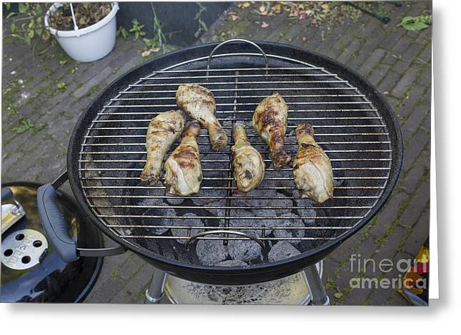Mealtime Greeting Cards - Chicken on barbecue Greeting Card by Patricia Hofmeester