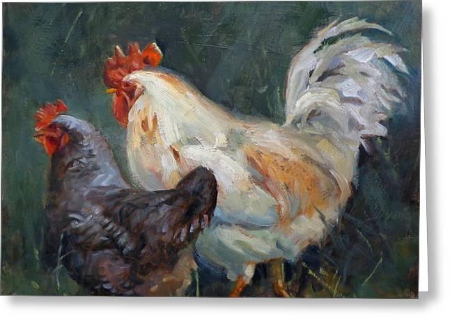 Donna Shortt Greeting Cards - Chicken Tales Greeting Card by Donna Shortt
