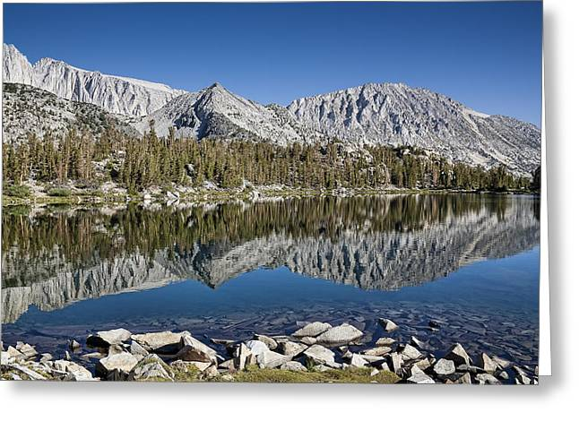 Little Lakes Valley Greeting Cards - Chickenfoot Lake with reflection Greeting Card by Kelley King