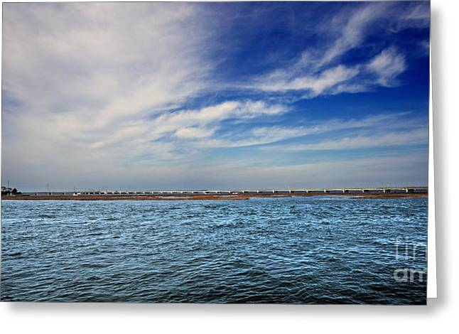 Panoramic Ocean Greeting Cards - Chicoteague Bay Panoramic Greeting Card by Tom Gari Gallery-Three-Photography
