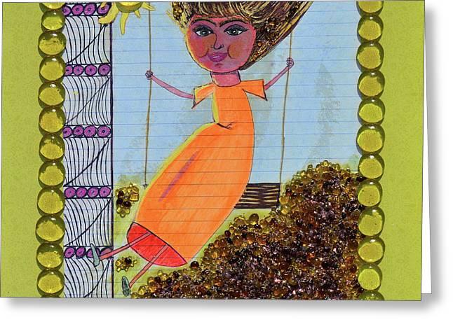 Childish Abandon Greeting Card by Donna Blackhall