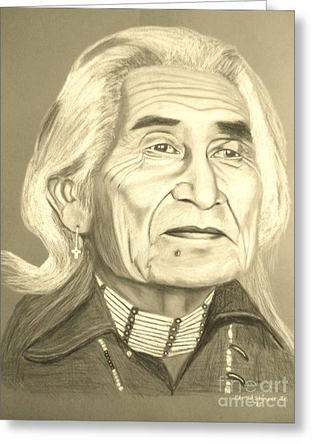 Indian Actor Greeting Cards - Chief Dan George Greeting Card by Edward Stamper
