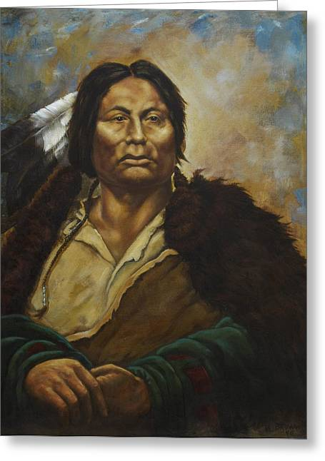 Native American Portraits Greeting Cards - Chief Gall Greeting Card by Harvie Brown