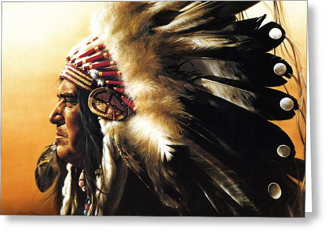 Roots Paintings Greeting Cards - Chief Greeting Card by Greg Olsen