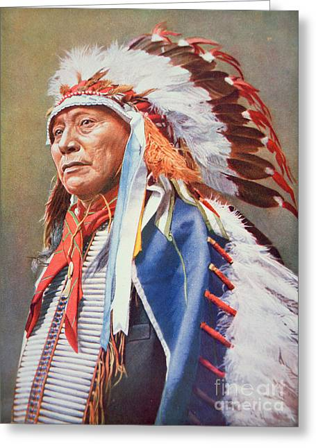 Indian Chief Greeting Cards - Chief Hollow Horn Bear Greeting Card by American School