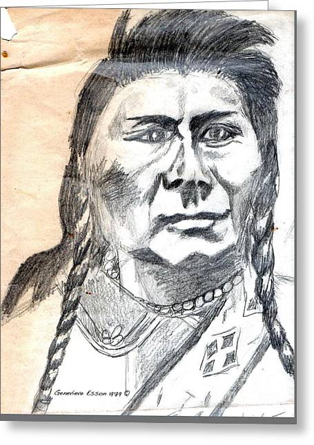 Chief Joseph Greeting Card by Genevieve Esson