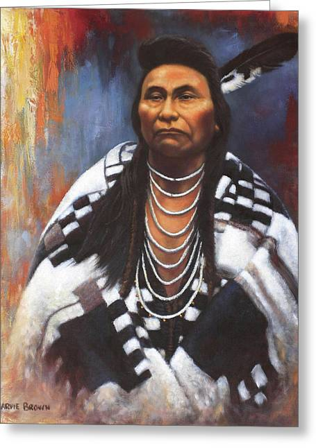 Indian Chief Greeting Cards - Chief Joseph Greeting Card by Harvie Brown