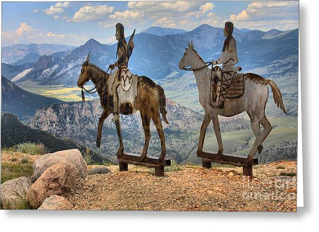 Chief Joseph Greeting Cards - Chief Joseph On A Horse Greeting Card by Adam Jewell