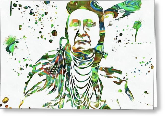 Chief Sitting Bull Greeting Cards - Chief Joseph Paint Splatter Greeting Card by Dan Sproul