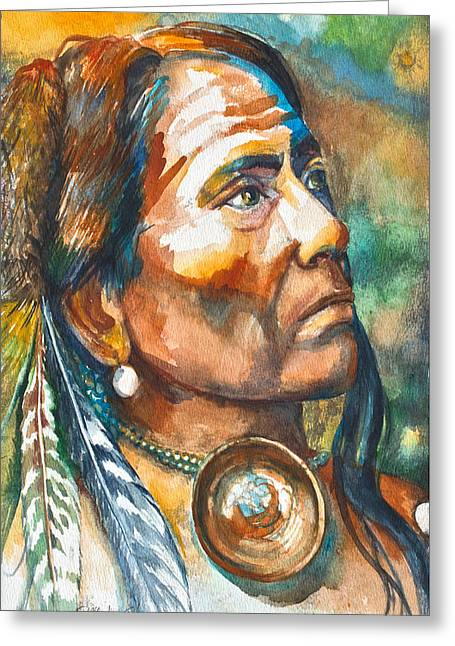 American Indian Mixed Media Greeting Cards - Chief Last Horse Greeting Card by Patricia Allingham Carlson