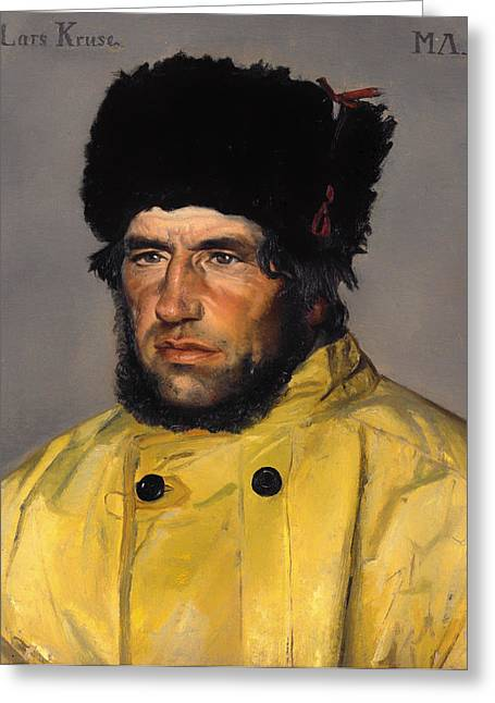 Raincoats Greeting Cards - Chief Lifeboatman Lars Kruse Greeting Card by Michael Ancher
