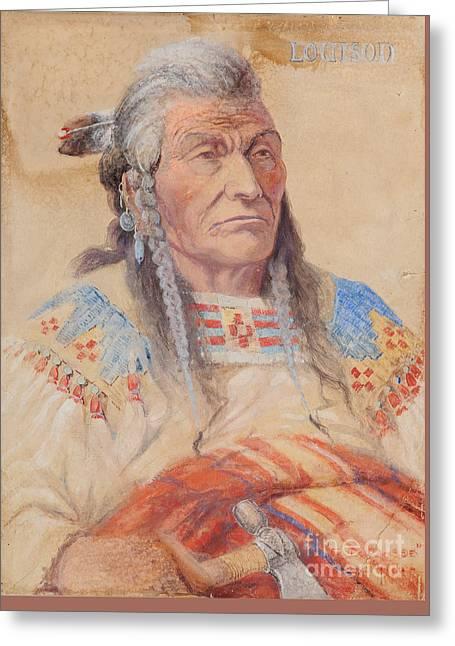 Chief Louison - Flathead Greeting Card by Edgar S Paxson