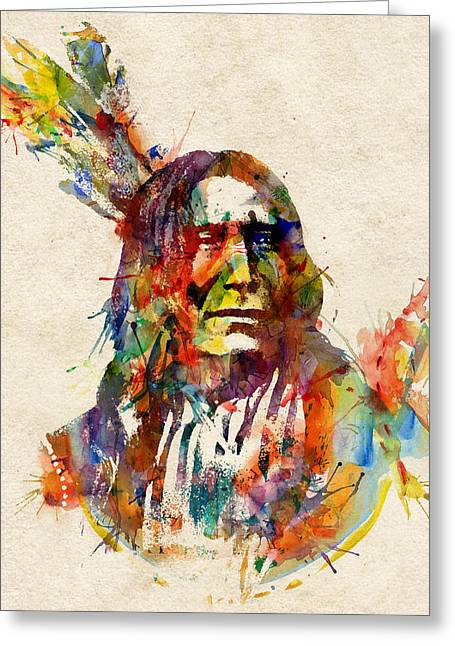 Chief Mojo Watercolor Greeting Card by Marian Voicu