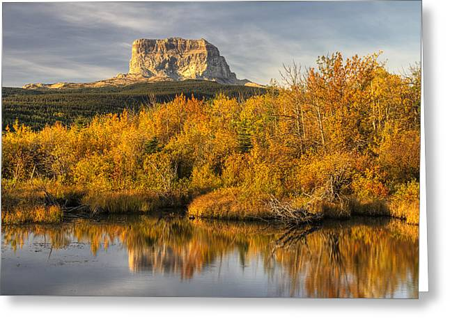 Highway Greeting Cards - Chief Mountain Autumn Greeting Card by Mark Kiver