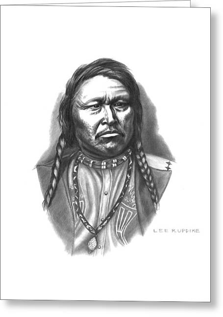 Aboriginal Art Drawings Drawings Greeting Cards - Chief Ouray Greeting Card by Lee Updike