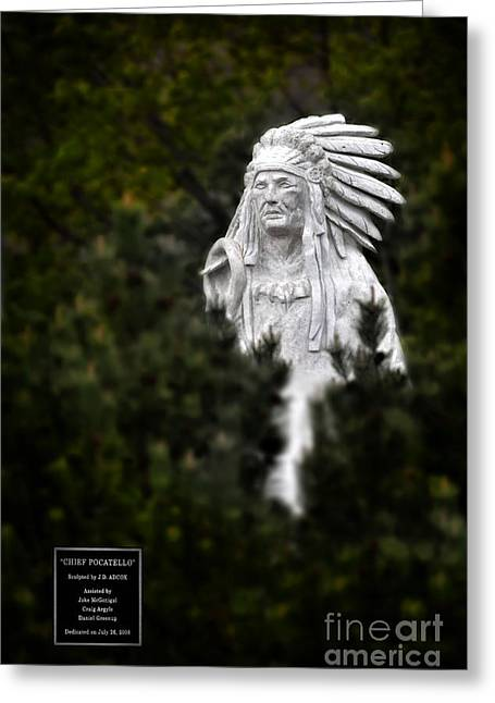Indian Warrior Sculpture Greeting Cards - Chief Pocatello Scultpure in Pocatello Idaho Greeting Card by Lane Erickson