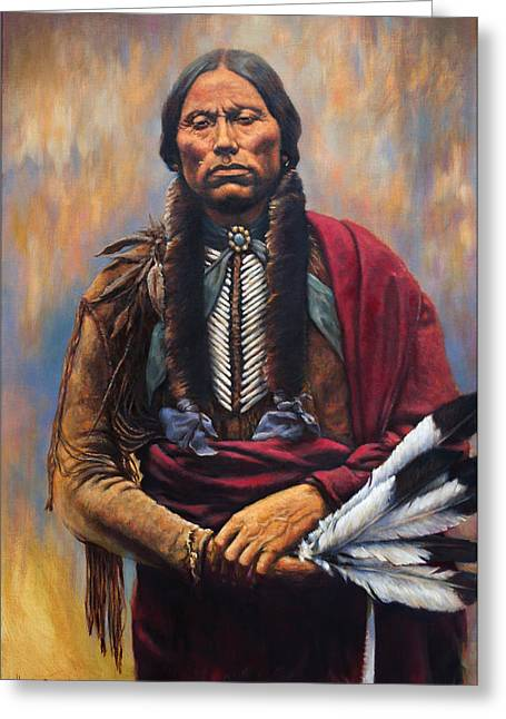 Indian Chief Greeting Cards - Chief Quanah Greeting Card by Harvie Brown