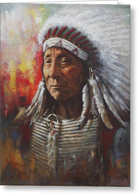 Sioux Greeting Cards - Chief Red Cloud Greeting Card by Harvie Brown