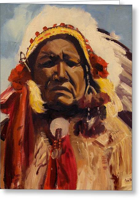 Chief Red Cloud Greeting Cards - Chief Red Cloud Greeting Card by Max DeBeeson
