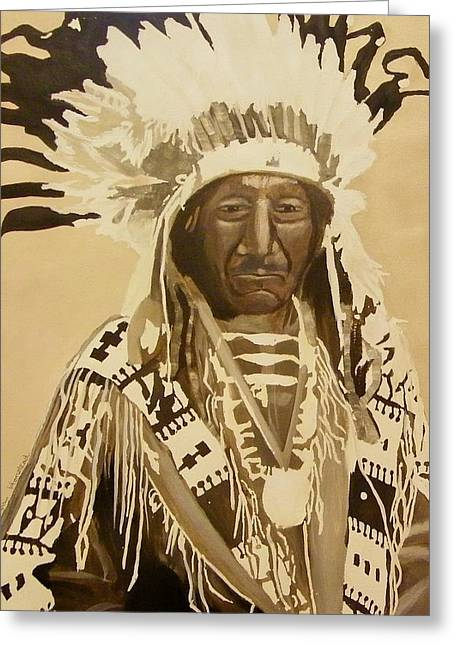 Chief Red Cloud Greeting Cards - Chief Red Cloud Greeting Card by Terry Honstead