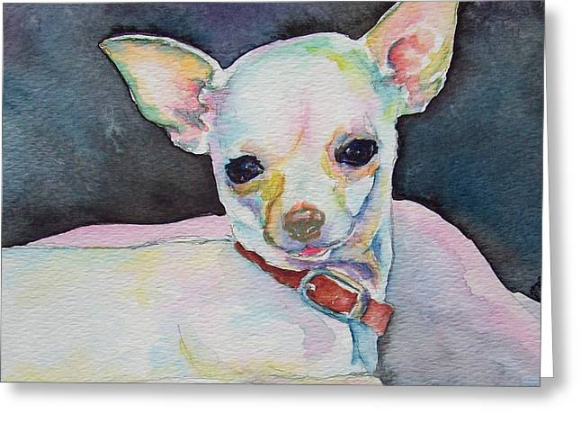 Pink Ears Greeting Cards - Chihauhau puppy Greeting Card by Christy  Freeman