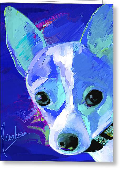 Toy Dog Greeting Cards - Chihuahua 1 Blue Tall Greeting Card by Jackie Jacobson